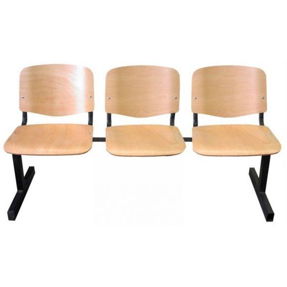 ISO 3P Wood várótermi pad fa ülő- és hátlappal