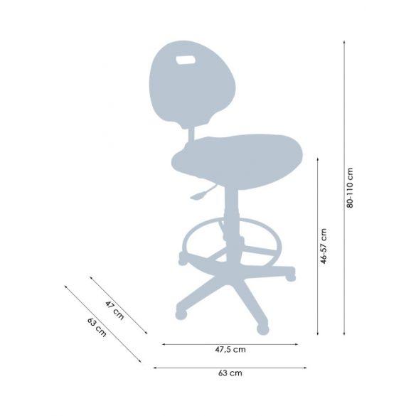 Tulip Ring poliuretán ipariszék ülésmagasítással és lábtartó gyűrűvel