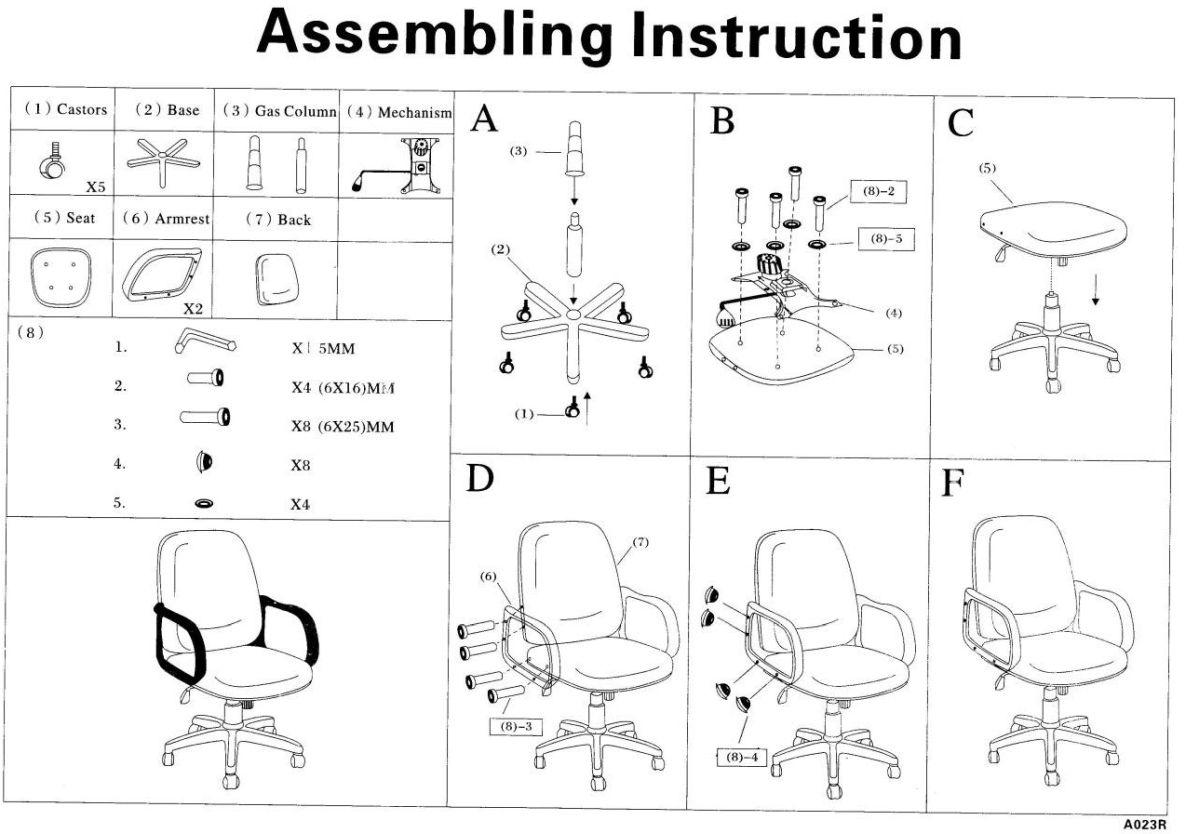 Alacsony háttámlájú forgófote, vezetői fotel összeszerelési rajza