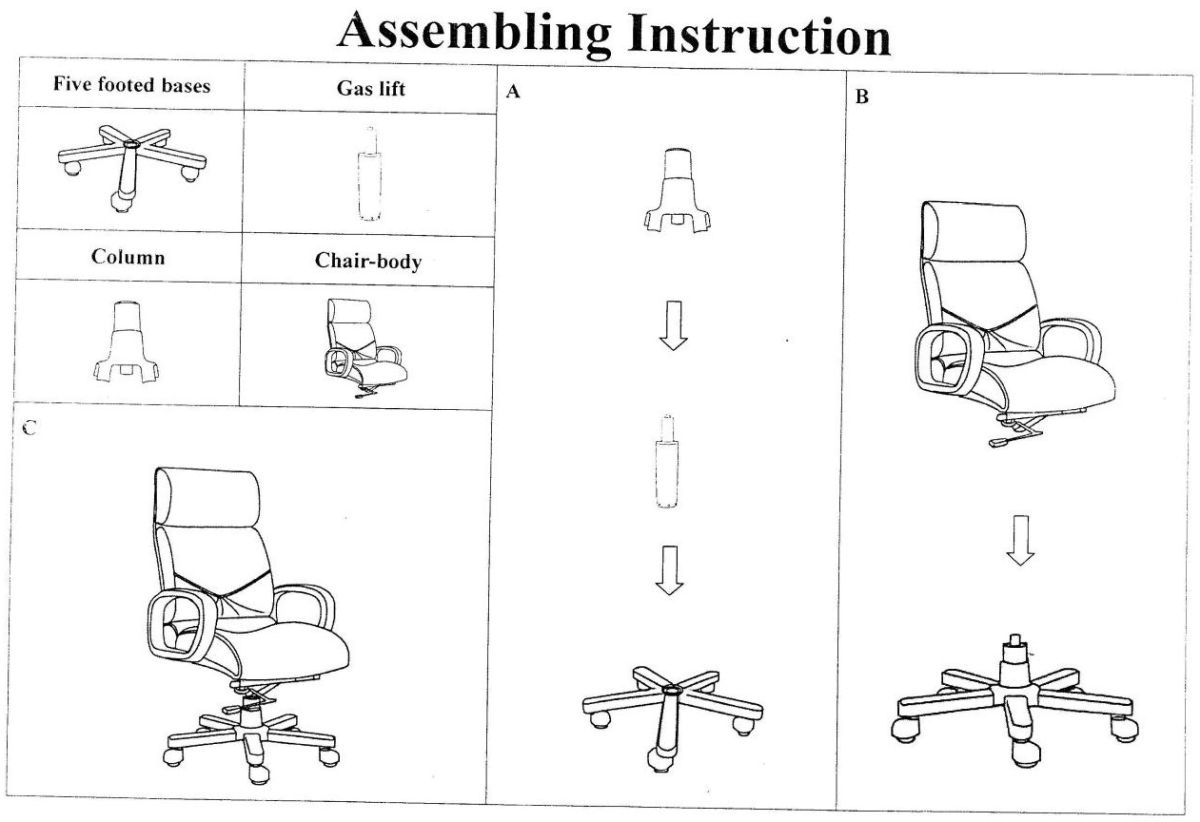 Fakarfás vezetői bőrfotel összeszerelési rajza