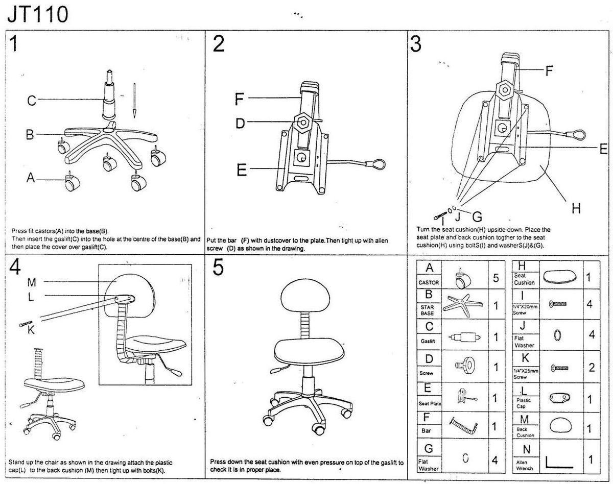 Gyarekszék, ifjúsági szék összeszerelési útmutatója