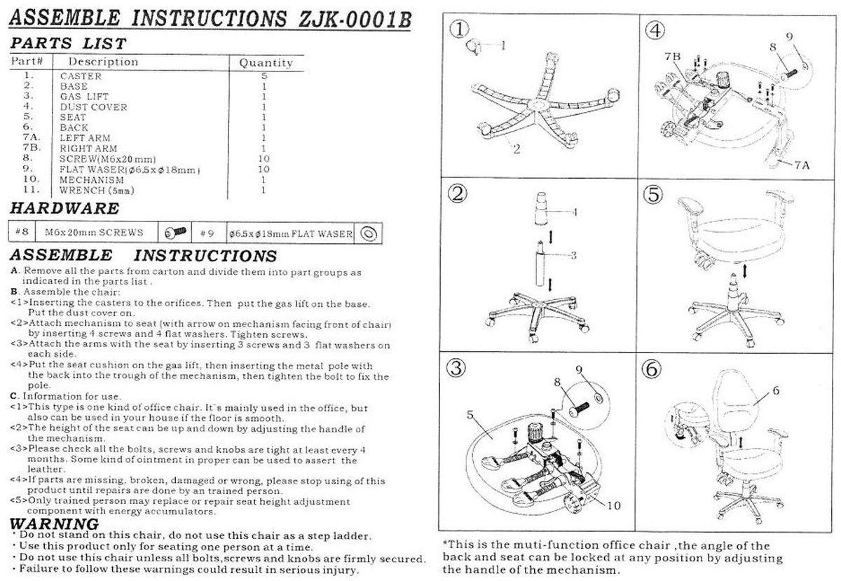 Háromkaros, szinkronmechanikás forgószék összeszerelési rajza