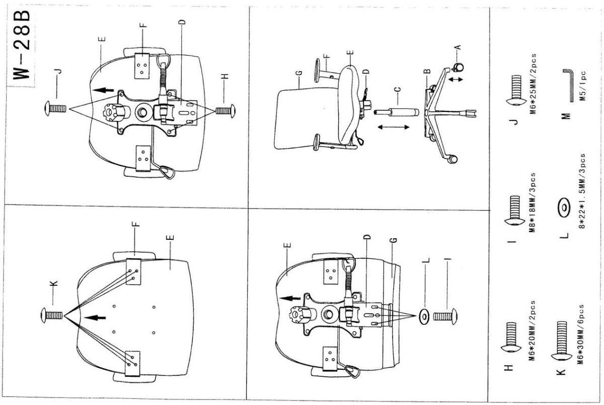 Modern karfás forgószék összeszerelési rajza