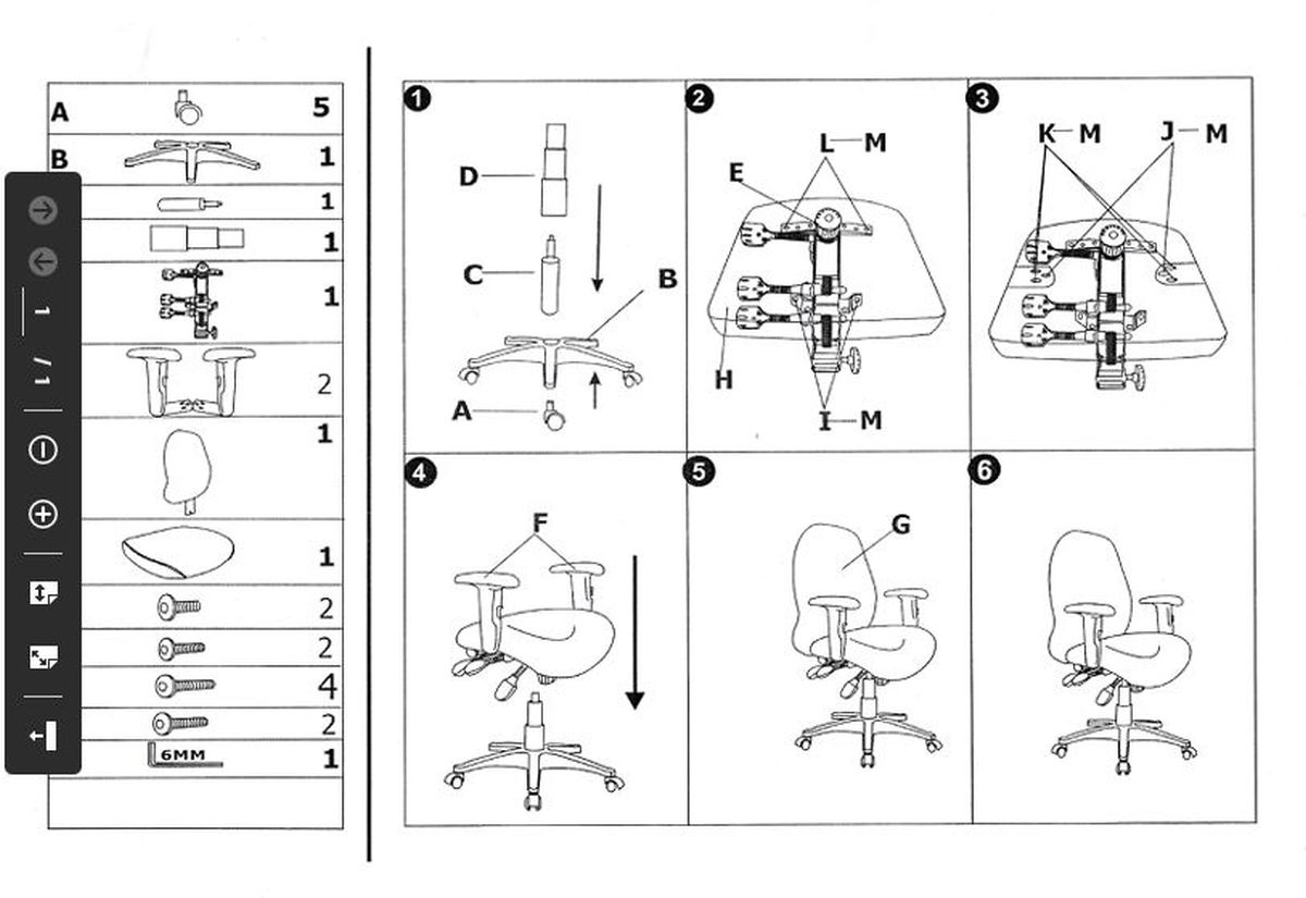 UFO, Cetus, 7201 ergonomikus irodaszékek összeszerelési útmutatója
